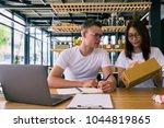 happy people working with... | Shutterstock . vector #1044819865