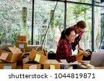 happy people working with... | Shutterstock . vector #1044819871