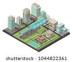 isometric cityscape concept... | Shutterstock .eps vector #1044822361