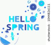 hello spring poster with... | Shutterstock .eps vector #1044826111