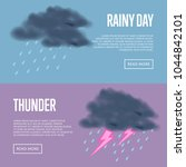 rainy day and thunder with... | Shutterstock .eps vector #1044842101