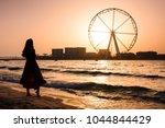 girl on the jbr beach with ain...   Shutterstock . vector #1044844429