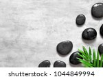 grey spa background  palm... | Shutterstock . vector #1044849994