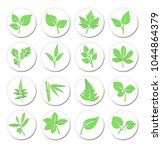 green leafs plant symbols ... | Shutterstock .eps vector #1044864379