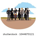 group of bikers in the classic... | Shutterstock .eps vector #1044870121