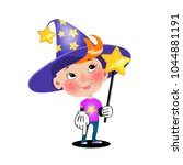 cartoon wizard illustration.... | Shutterstock .eps vector #1044881191