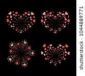 beautiful heart fireworks set.... | Shutterstock .eps vector #1044889771