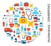 background made of medicine and ... | Shutterstock .eps vector #1044899341