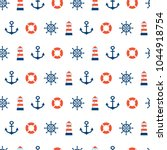sea seamless patterns.red  blue ... | Shutterstock .eps vector #1044918754