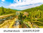 mountain forest river panoramic ... | Shutterstock . vector #1044919249