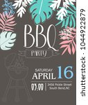 bbq party invitation card | Shutterstock .eps vector #1044922879