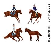woman  girl riding horses set ... | Shutterstock .eps vector #1044927811