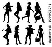 vector silhouettes of slim girl ... | Shutterstock .eps vector #1044939271