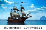 3 d rendering of Spanish galleon on a calm sea  - stock photo