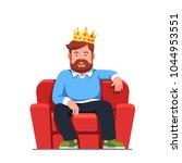 smiling bearded man pretending...   Shutterstock .eps vector #1044953551