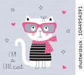 cute white cat vector... | Shutterstock .eps vector #1044954391