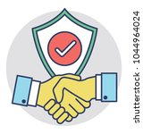 handshake shield with check... | Shutterstock .eps vector #1044964024