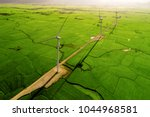 landscape with turbine green... | Shutterstock . vector #1044968581