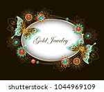 oval banner adorned with... | Shutterstock .eps vector #1044969109