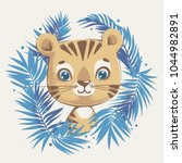 cute tiger in the jungle... | Shutterstock .eps vector #1044982891