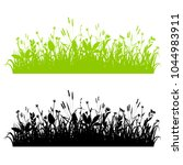 vector grass borders set... | Shutterstock .eps vector #1044983911