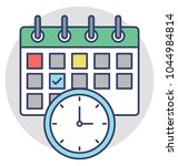 a calendar with clock... | Shutterstock .eps vector #1044984814