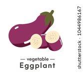 vector cute fresh eggplant... | Shutterstock .eps vector #1044986167