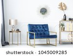 blue bench between gold table... | Shutterstock . vector #1045009285