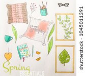 spring essentials traditional... | Shutterstock . vector #1045011391
