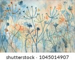 decorative meadow with abstract ... | Shutterstock . vector #1045014907