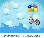 surreal skyline with hanging... | Shutterstock .eps vector #1045028551