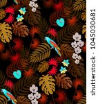 tropic seamless pattern with... | Shutterstock .eps vector #1045030681