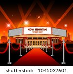red carpet with hollywood sign... | Shutterstock .eps vector #1045032601