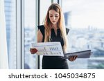 female financial analyst... | Shutterstock . vector #1045034875
