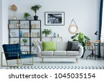 grey couch with decorative... | Shutterstock . vector #1045035154