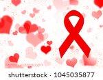 2d rendering aids red ribbon | Shutterstock . vector #1045035877