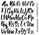 handdrawn dry brush font.... | Shutterstock .eps vector #1045036717