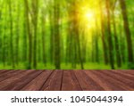 wooden table place and trees in ... | Shutterstock . vector #1045044394