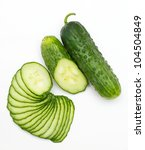 green cucumber isolated on white background - stock photo