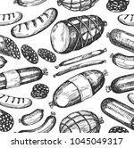 seamless pattern with sketch... | Shutterstock .eps vector #1045049317