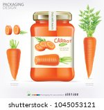 carrot juice realistic glass... | Shutterstock .eps vector #1045053121