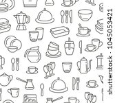 seamless pattern with dish and... | Shutterstock .eps vector #1045053421