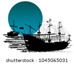 black silhouette of two pirate...   Shutterstock .eps vector #1045065031