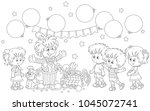 friendly smiling circus clown...   Shutterstock .eps vector #1045072741