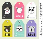 christmas set of gift labels... | Shutterstock .eps vector #1045074919