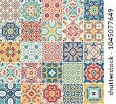 portuguese color tiles azulejos.... | Shutterstock .eps vector #1045077649