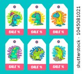 cool dino doodle vector cards.... | Shutterstock .eps vector #1045081021