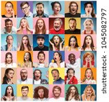 the collage of faces of... | Shutterstock . vector #1045082797