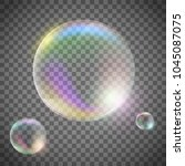 set of realistic soap bubbles... | Shutterstock .eps vector #1045087075