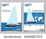 yacht club flyer design with... | Shutterstock .eps vector #1045087375